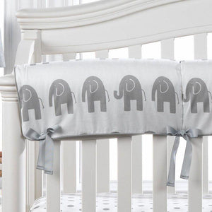 Liz & Roo Gray Elephant Crib Rail Cover (Gray Trim)