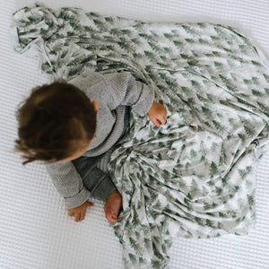 Copper Pearl Knit Swaddle Blanket - Evergreen
