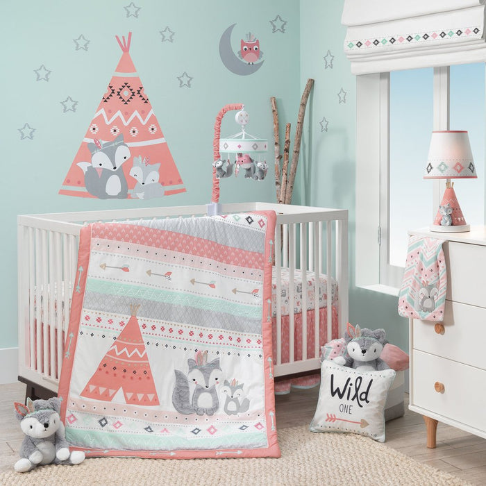 Lambs & Ivy Little Spirit Coral/Mint/Gray Southwest Fox & Teepee Nursery 3-Piece Baby Crib Bedding Set