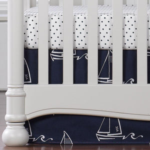 "Liz & Roo Nautical Sailboats (Indigo) Crib Skirt 17"" Drop"