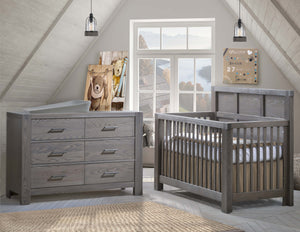 Natart Rustico ''5-in-1'' Convertible Crib with Wood Panel