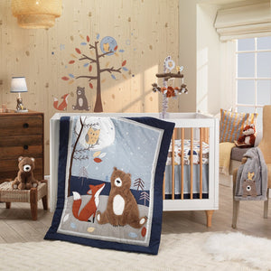 Lambs & Ivy Sierra Sky Blue/Gray Woodland Nursery 3-Piece Baby Crib Bedding Set