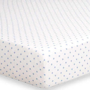 Liz & Roo Sky Blue Mini Dots Crib Sheet