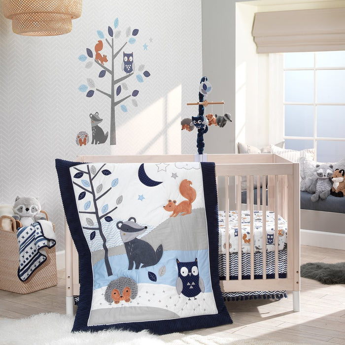 Lambs & Ivy Whimsical Woods Blue/Gray Woodland 3-Piece Baby Crib Bedding Set