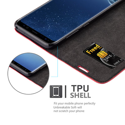 Anti-Radiation RFID Samsung Wallet Case (Red, Samsung Galaxy S8)