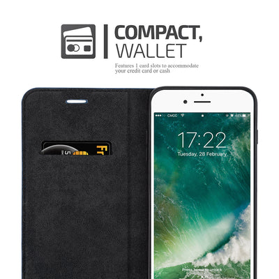 Anti-Radiation RFID iPhone Wallet Case (Navy Blue, iPhone 7/8 Plus)