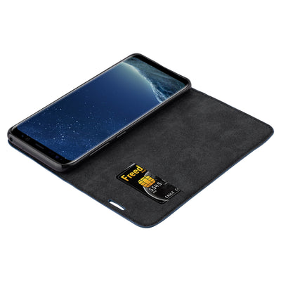 Anti-Radiation RFID Samsung Wallet Case (Navy Blue, Samsung Galaxy S8+)
