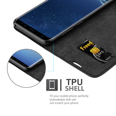Anti-Radiation RFID Samsung Wallet Case (Black, Samsung Galaxy S8+)