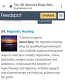Hypnotic Healing Chosen For Feedspot Top 100 Hypnosis Blogs