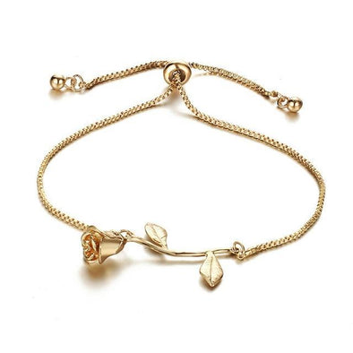 GLAMOROUS AND SLEEK ROSE FLOWER CHARM BRACELET FOR WOMEN MAKEUP !!! - LovelySelena.Com