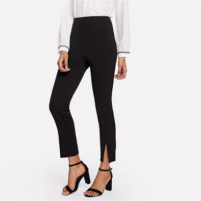 Mid Waist Split Hem Cigarette Pants
