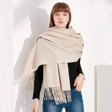 Soft Colour Cashmere Scarves With Tassel