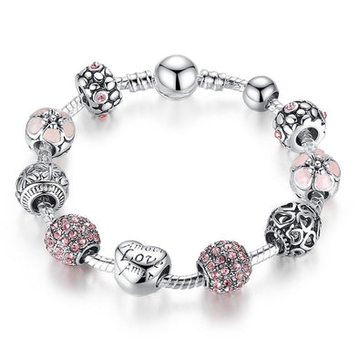 PRISMATIC AND ANTIQUE SILVER CHARM ZINC LADIES MAKEUP BRACELET !!! - LovelySelena.Com