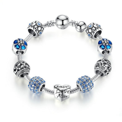 PRISMATIC AND ANTIQUE SILVER CHARM ZINC LADIES MAKEUP BRACELET !!!