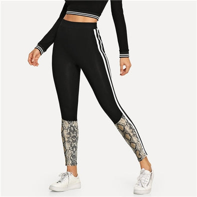 Black Snakeskin Print Leggings - LovelySelena.Com