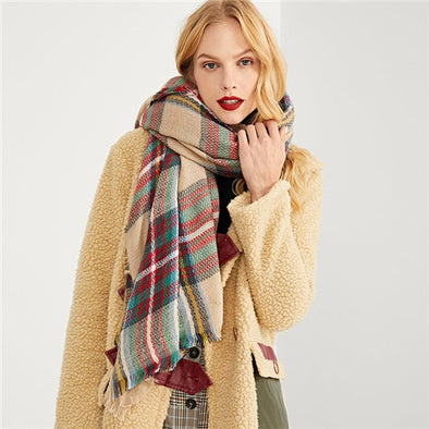Stylish Multicolor Frayed Trim Plaid Scarf