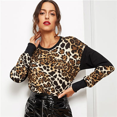 Leopard Color-Block Round Neck Sweater