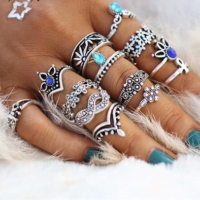 Retro Flower Infinite Knuckle Rings - LovelySelena.Com