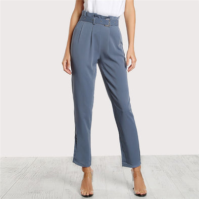 Blue Pleated Pants with Buckle Belt