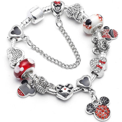 FASHIONABLE MICKEY MINNIE DISNEY CHARM BRACELET WOMEN MAKEUP !!! - LovelySelena.Com