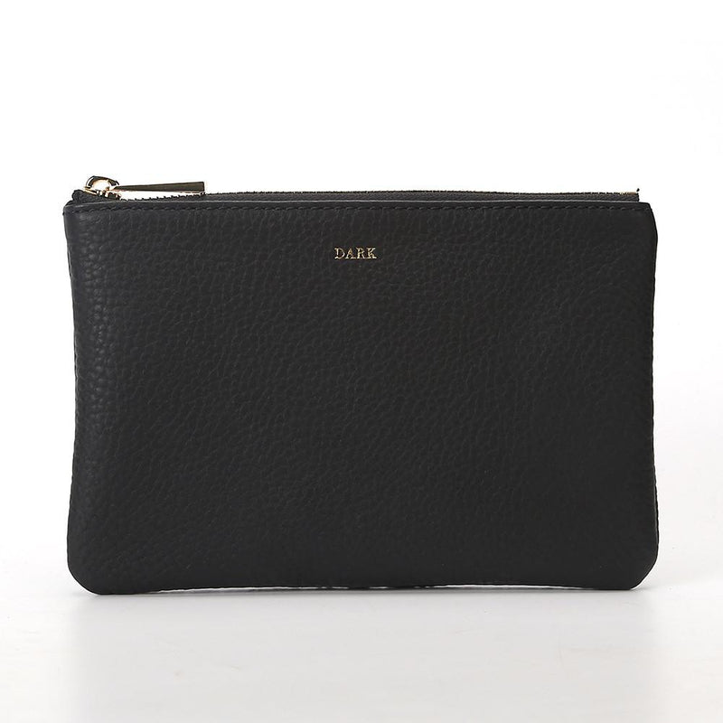 LEATHER SMALL POUCH BLACK W/GOLD