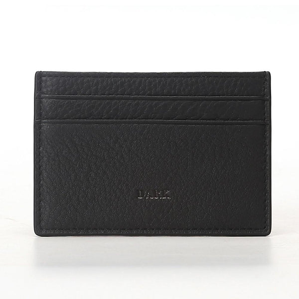 LEATHER CARD HOLDER BLACK W/GUN METAL