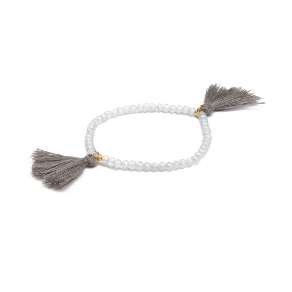 TASSEL BRACELET GLASS BEADS MATTE LIGHT GREY W/GREY