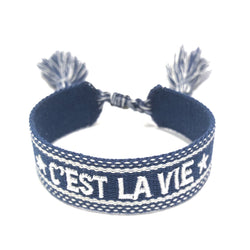 "WOVEN FRIENDSHIP BRACELET - ""C'EST LA VIE"" NAVY BLUE"