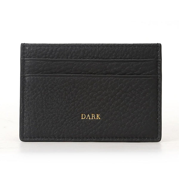 LEATHER CARD HOLDER BLACK W/GOLD