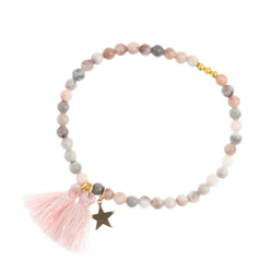 BEAD BRACELET 4 MM PALE ROSE STONE