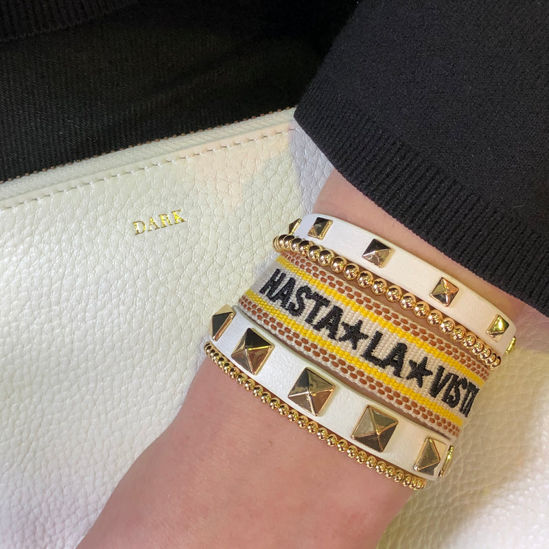 "WOVEN FRIENDSHIP BRACELET - ""HASTA LA VISTA"" SAND YELLOW"