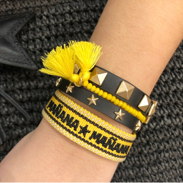 "WOVEN FRIENDSHIP BRACELET - ""MAÑANA MAÑANA"" YELLOW"