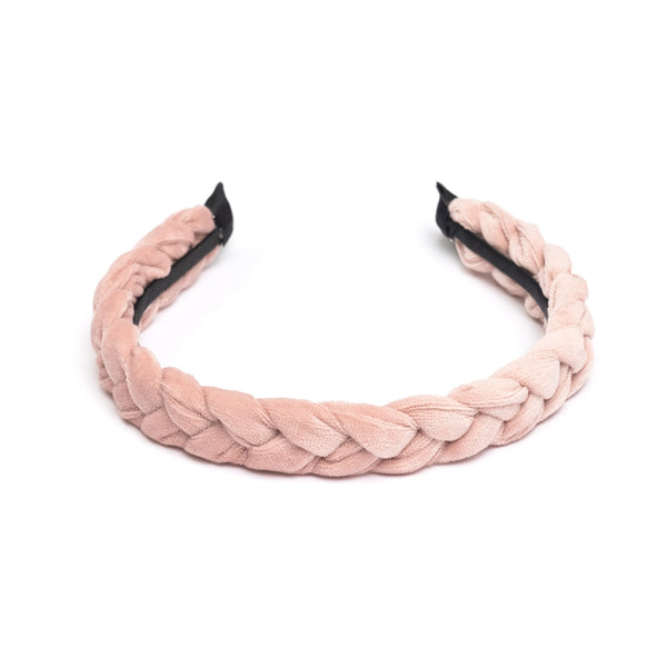 VELVET HAIR BAND BRAIDED PALE ROSE