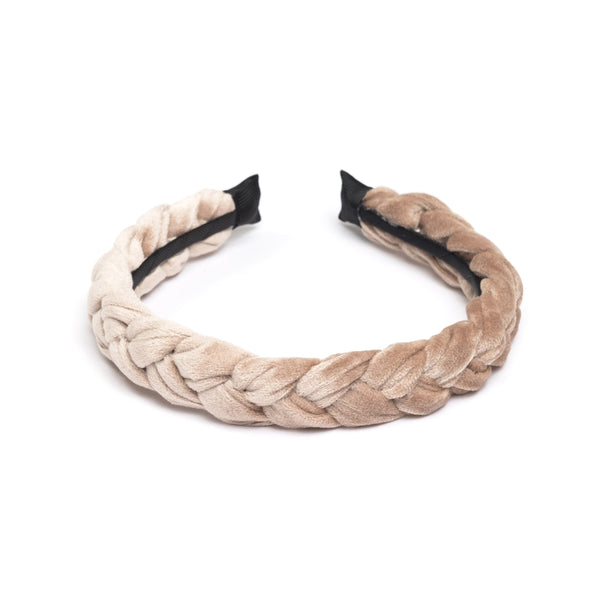 VELVET HAIR BAND BRAIDED SPARKLED SAND