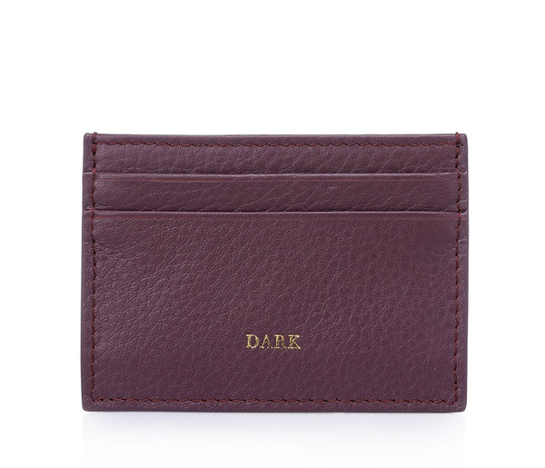 LEATHER CARD HOLDER RICH PLUM