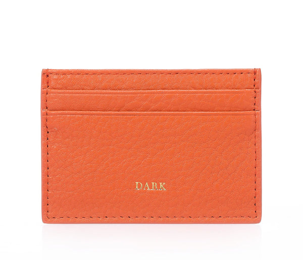 LEATHER CARD HOLDER ORANGE