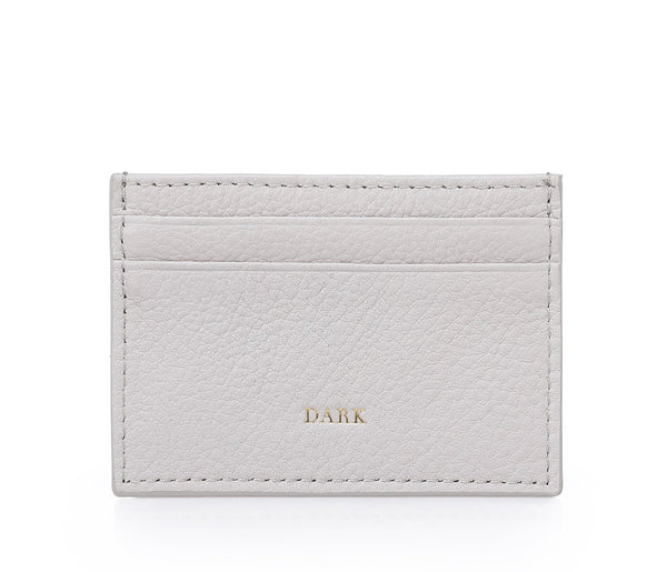 LEATHER CARD HOLDER LIGHT GREY