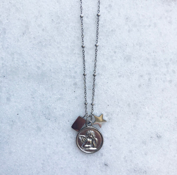 ANGEL COIN NECKLACE SILVER