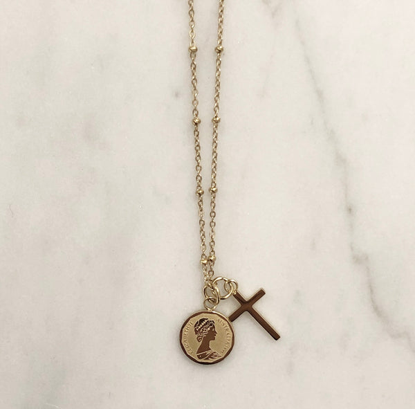CROSS CHARM NECKLACE GOLD