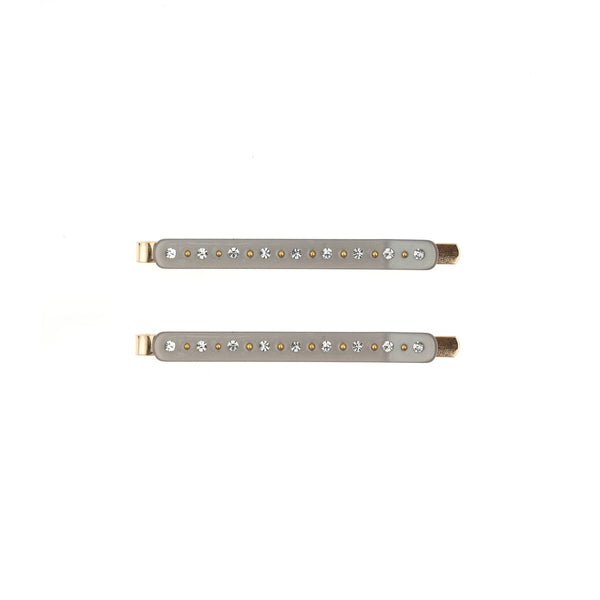CRYSTAL BOBBY PINS 2 PK LIGHT GREY