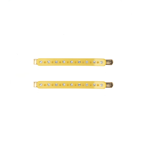 CRYSTAL BOBBY PINS 2 PK SUN YELLOW
