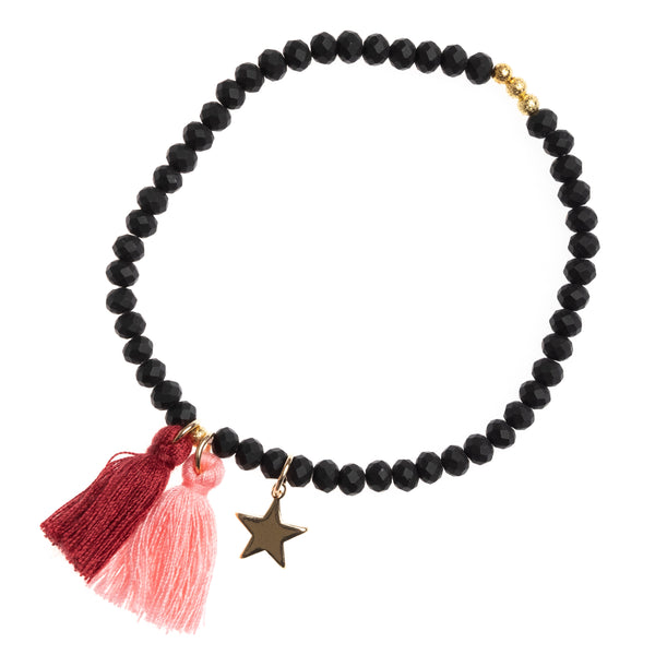CRYSTAL BEAD BRACELET 4 MM BLACK MATTE W/OX RED / BLUSH ROSE