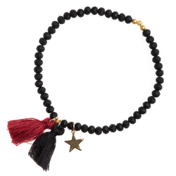CRYSTAL BEAD BRACELET 4 MM BLACK MATTE W/OX RED