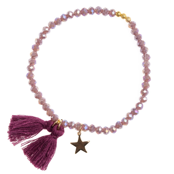 CRYSTAL BEAD BRACELET 4 MM DUSTY GRAPE