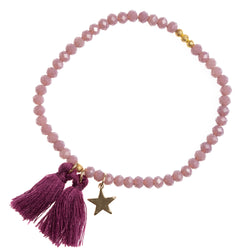 CRYSTAL BEAD BRACELET 4 MM DUSTY GRAPE MATTE