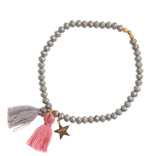 CRYSTAL BEAD BRACELET 4 MM DUSTY GREY MATTE W/BLUSH ROSE