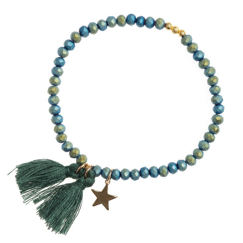 CRYSTAL BEAD BRACELET 4 MM MALLARD GREEN MATTE