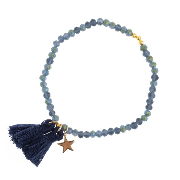 CRYSTAL BEAD BRACELET 4 MM MATTE STONE BLUE