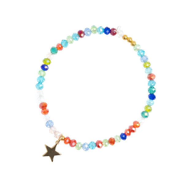 CRYSTAL BEAD BRACELET 4 MM COLORFUL