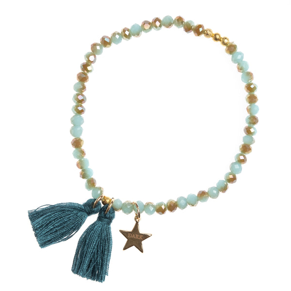 CRYSTAL BEAD BRACELET 4 MM TEAL COMBO